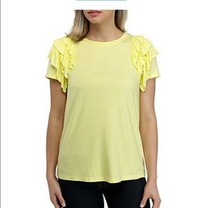 Kaari Blue Yellow Ruffle Short Sleeve Top